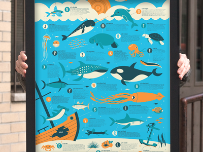 Ocean Alphabet ocean creatures narwhal dolphin whale anchor hammerhead screen print limited edition dave perillo