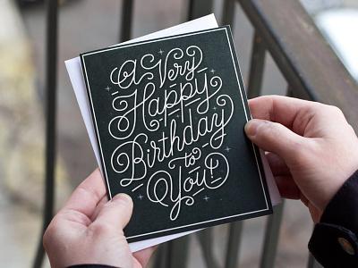 Very Happy Birthday birthday card type typography swirly shit flourish monoline