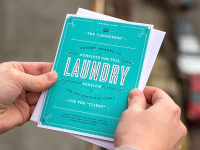 Laundry Contract love romantic greetings funny cyclone retro card typography type