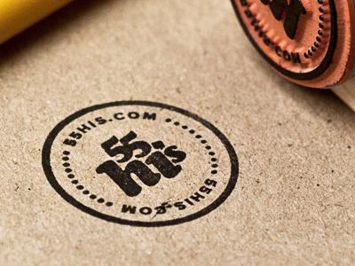 Stamp! stamp seal icon 55his logo simple black kraft rubber circle