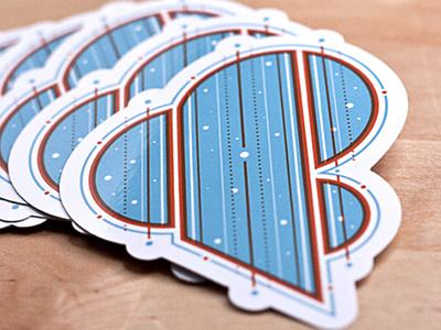 Amperstickers stickers ampersand blocky blue orange lines futuristic diecut