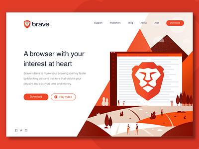 Brave Web scene landscape browser splash page homepage illustration web design landing page