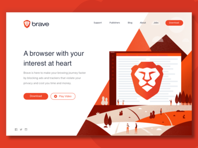 Brave Web scene landscape browser splash page homepage illustration web design landing page