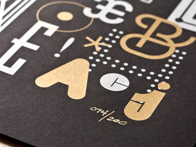 Letters letters type typography screenprint metallic gold white a c limited edition poster print