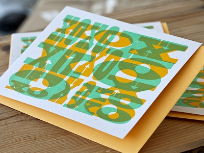 Kisses Card type woodblock overprint card love romance screenprint greeting card speckletone