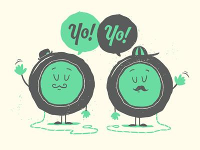 Yo Yo Dudes! yo yo illustration retro simple moustache hats speech bubble