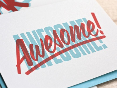 Awesome Awesomeness awesome type typography overprint blue red retro congratulations awesomeness