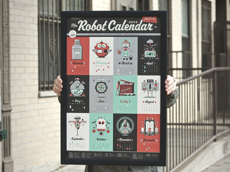 2013 Robot Calendar robot calendar months print screen print limited edition god damn robot turkey