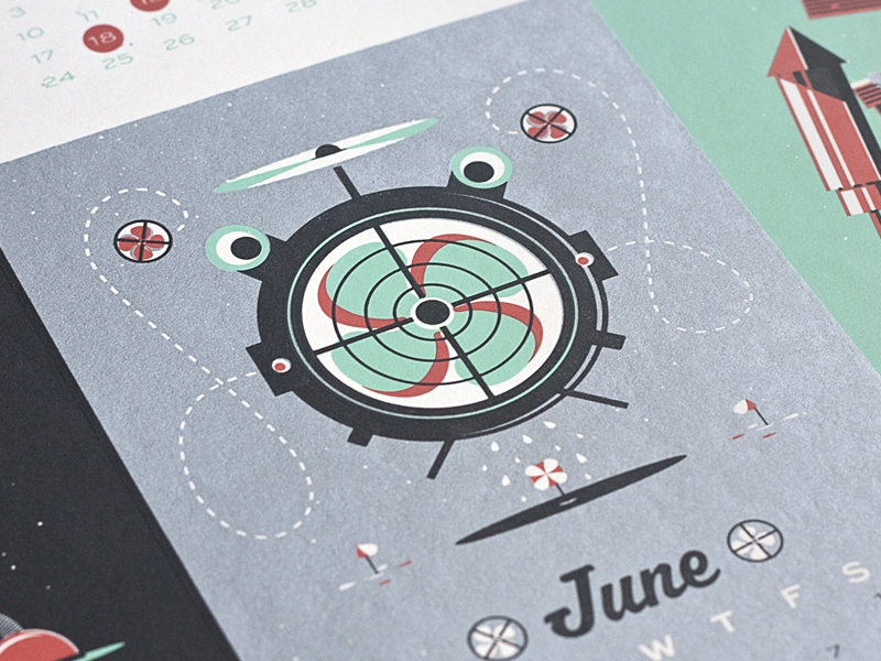 June Dude june calendar robot character illustration print screen print freiken flying guy