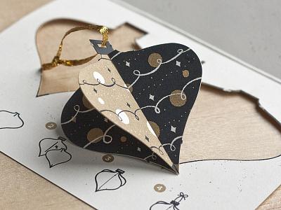 Ornament Drib ornament card holidays christmas print screenprint type origami pop-out
