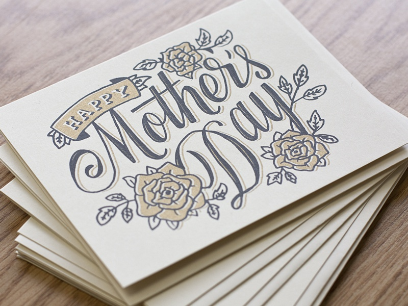 Mother's Day mothers day mom type script flowers hand done hand drawn typography