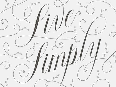Live Simply swirls swirly typography custom type script flourish leafs live simply delicate
