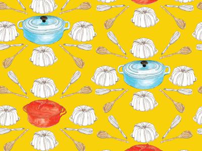 Classic cookware surface design pattern design food art