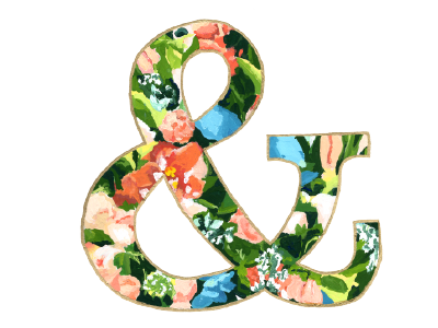 Floral Ampersand type painting flowers floral illustration