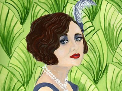 1920's Flapper  painting editorial portrait illustration