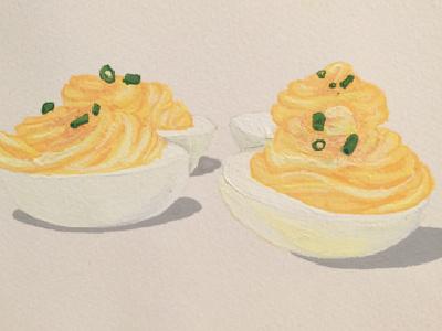 Deviled Eggs gouache painting deviled eggs illustration food art