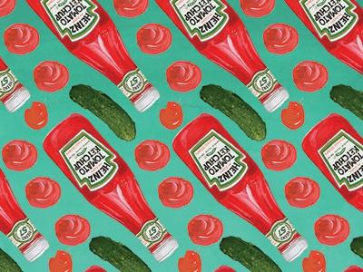 Ketchup Pattern design repeats pickles gouache condiments food illustration illustration pattern ketchup