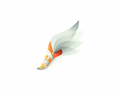 Logomark (2x) foot wing wings logo mark fly run wip sale