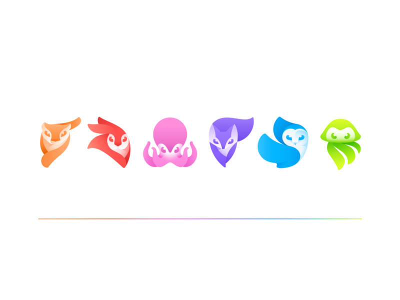 Lightricks Creativity Kit logos 2020 branding panther octopus jellyfish owl fox rabbit icon design logodesign logo icon