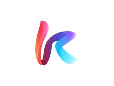 K mark icon design icon logo design logo mark letter k gradient blue flow motion strip