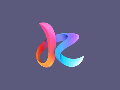 k (lowercase) mark logo mark letter k gradient strip flow motion lowercase