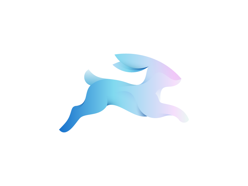 Rabbit mark (2nd) animal branding icon design icon logo design logo rabbit gradients run motion running speed