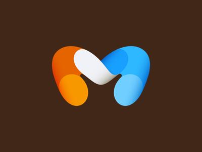 M (2nd) logo mark modern round ribbons wip motion sale