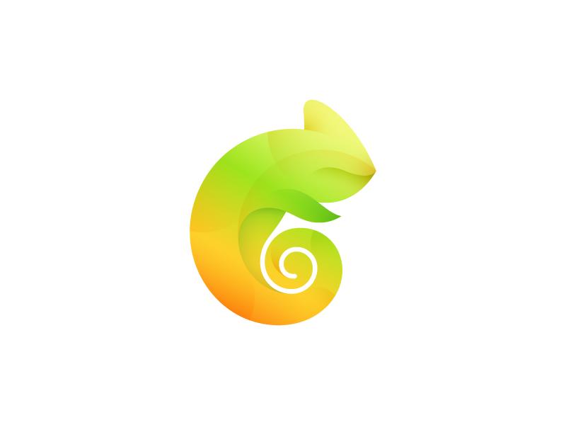 Chameleon mark chameleon logo mark c colors wip