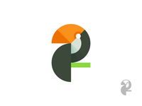 Toucan logo (flat) flat toucan geometry bird mark logo