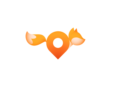 Running fox (+ pin) red foxy geotag pin location running fox mark logo