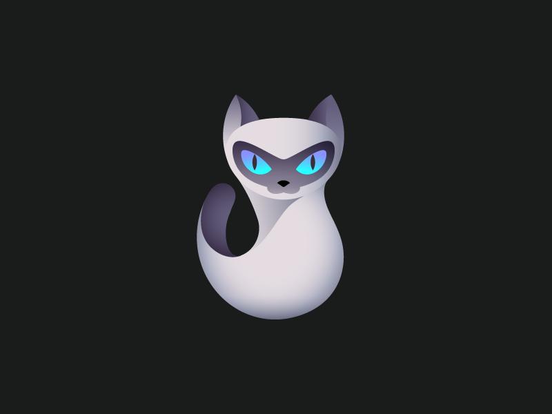 Cat mark gradient cat mark logo seamise