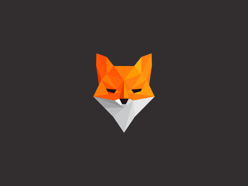 low poly fox front view