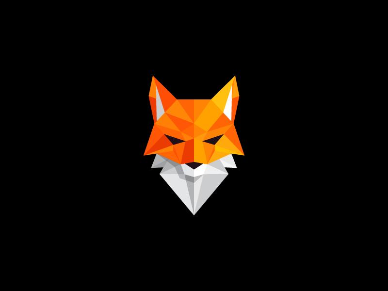Fox Logo Polygonal Design Poly Illustration Mark Geometrical Triangles Red White