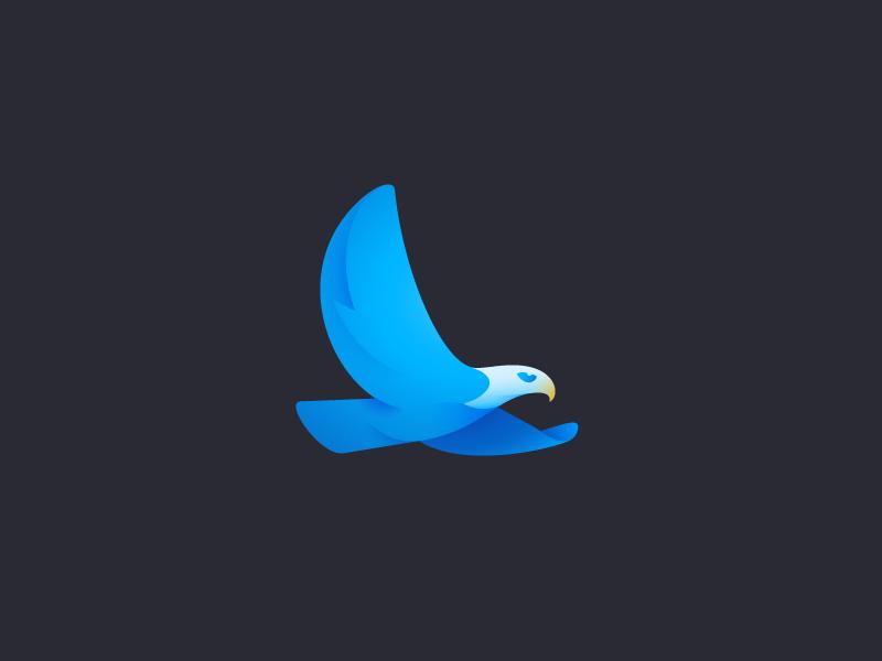 Eagle mark flight eagle bird gradient branding logo icon icon design logo design