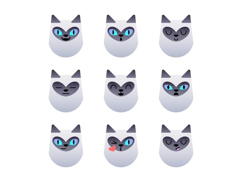 Siamese Cat - Emotions cat illustration