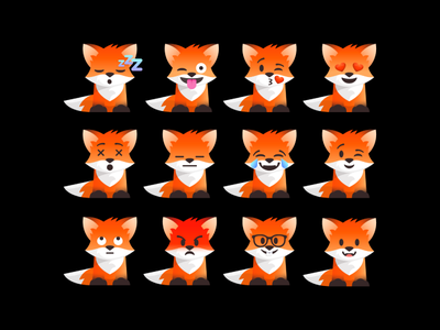 Foxmojis vector emojis emoji set emoji illustration fox