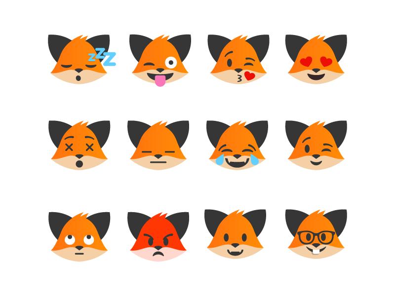 Emojis Flat emojis emoji design illustration fox
