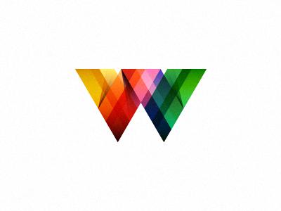W (not for sale) logo mark ribbon color blending gradient ribbons colors