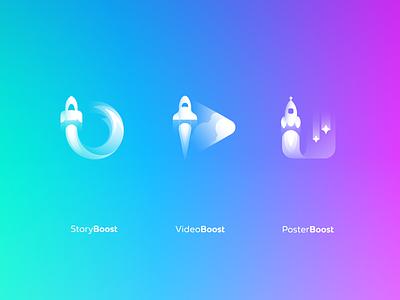 Boost apps logo system icon gradient rocket design logo