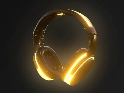 Headphones 3D Model Glow Neon reflexion cinema 4d neon glow 3d model headphones