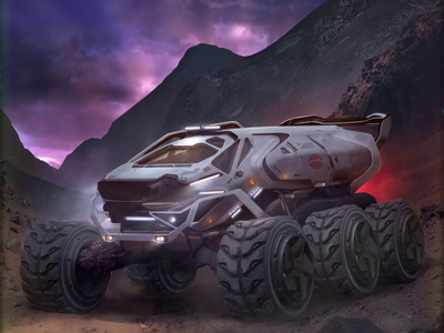 Mars Cards Rover concept futuristic space cloud rover illustration card mars 2d motion vfx
