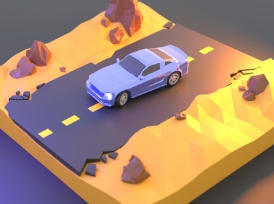 Ford Mustang Low Poly Desert