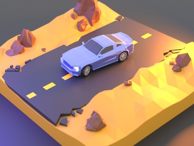 Ford Mustang Low Poly Desert auto blender3d blender low poly model 3d ford mustang lowpoly car