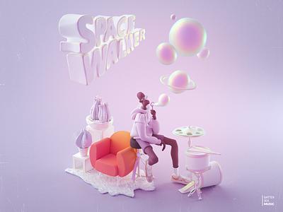 Spacewalker music art clayrender