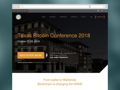 Texas Bitcoin Conference website btc bitcoin website design web blockchain