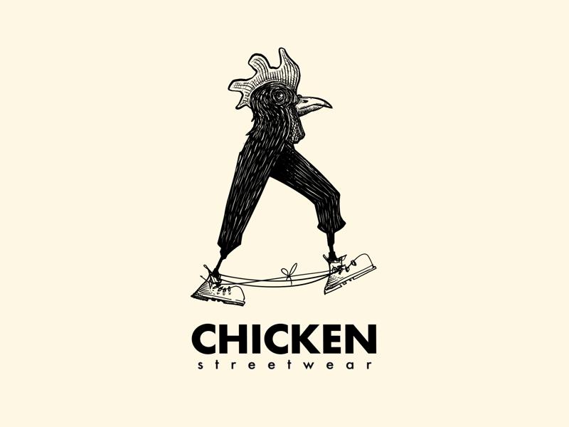 Chicken streetwear illustrated logo footwear chicken streetwear boots laces digital ink ink logo inked sneakerheads sneakers footwear logo illustration illustrated logo ink logo logo design character logo chicken logo