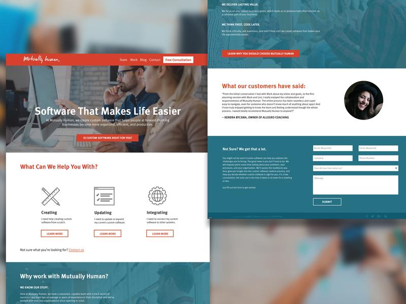Mutually Human Homepage business orange teal software company grand rapids mutually human home homepage website