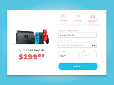 Daily UI 02 // Checkout montserrat bright red blue daily ui 002 daily ui checkout process videogame checkout