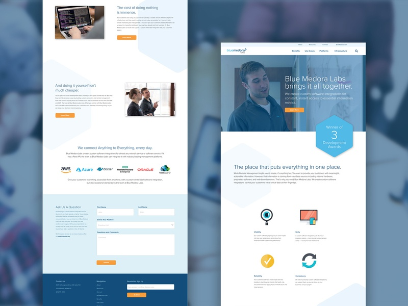 Blue Medora Labs Site Design company website software company tech orange blue overlapping web ui web design grand rapids blue medora labs