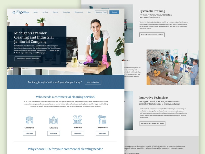 Janitorial Website Design web interface typography cleaning company web design website blue west michigan grand rapids janitorial clean